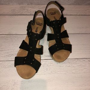 Clarks Collection | Black, Cork Wedge Sandals